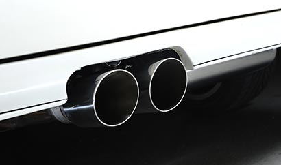 Close-up of the beautiful polished single-skin tailpipes