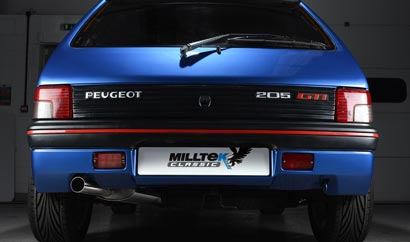 Dead-rear view of the Peugeot 205 GTi fitted with Milltek Classic's performance exhaust