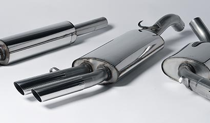 Milltek Classic cat-back system (left-to-right): Front Silencer, Centre Silencer, Rear Silencer with twin OEM-style polished tips